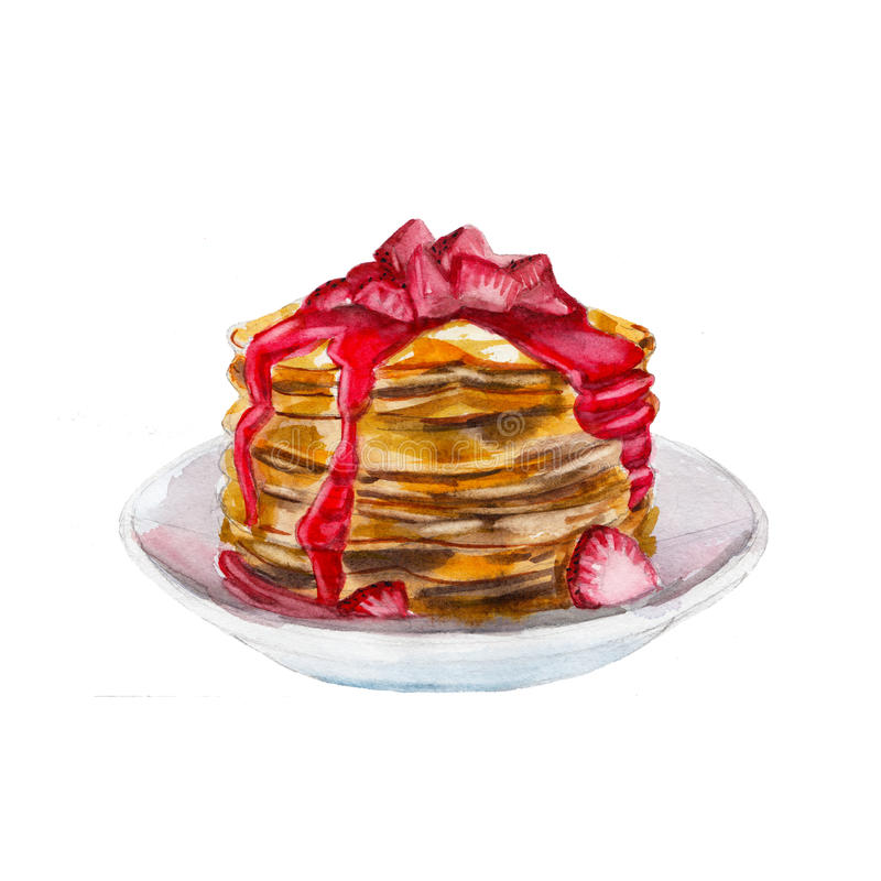 The pancakes with strawberry syrup isolated on white background, watercolor illustration. In hand drawn style vector illustration