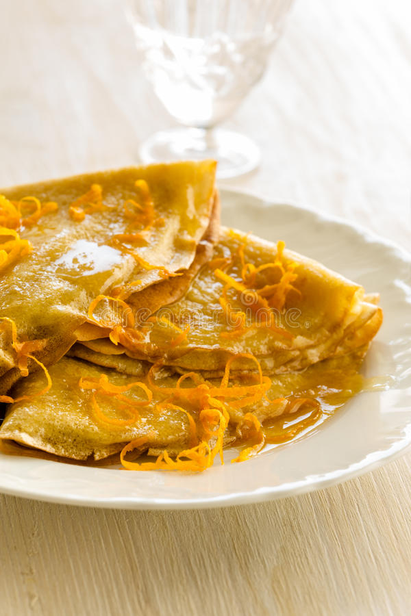 Pancakes with sweet citrus sauce, crepes Suzette royalty free stock photography