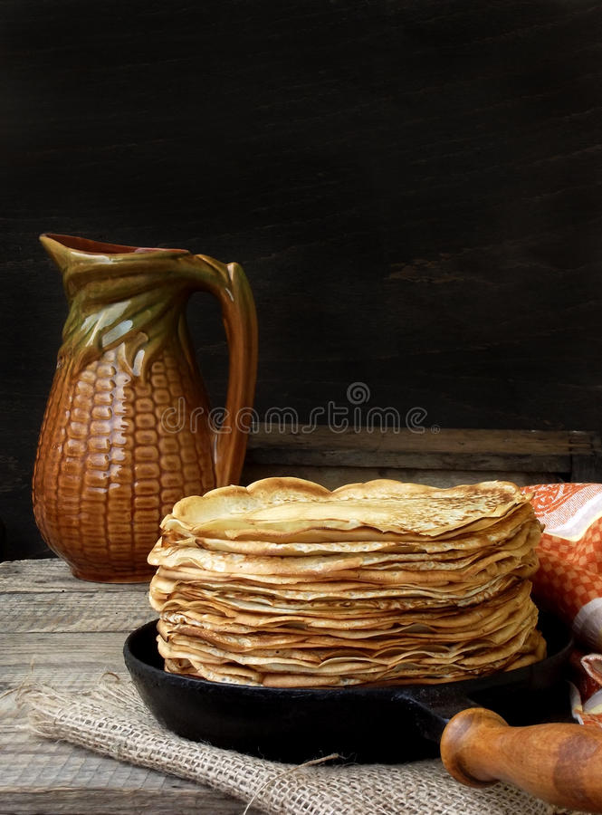 Pancakes. Tasty hot and thin pancakes stock photos