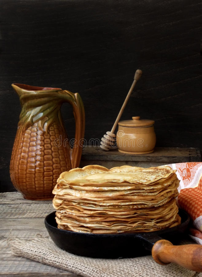Pancakes. Tasty hot and thin pancakes royalty free stock images