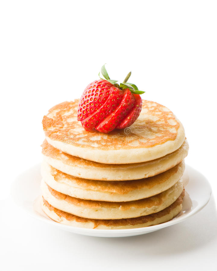 Pancakes Topped With Strawberry royalty free stock images