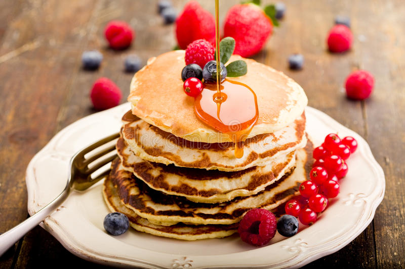 Pancakes On Wooden Table Stock Image