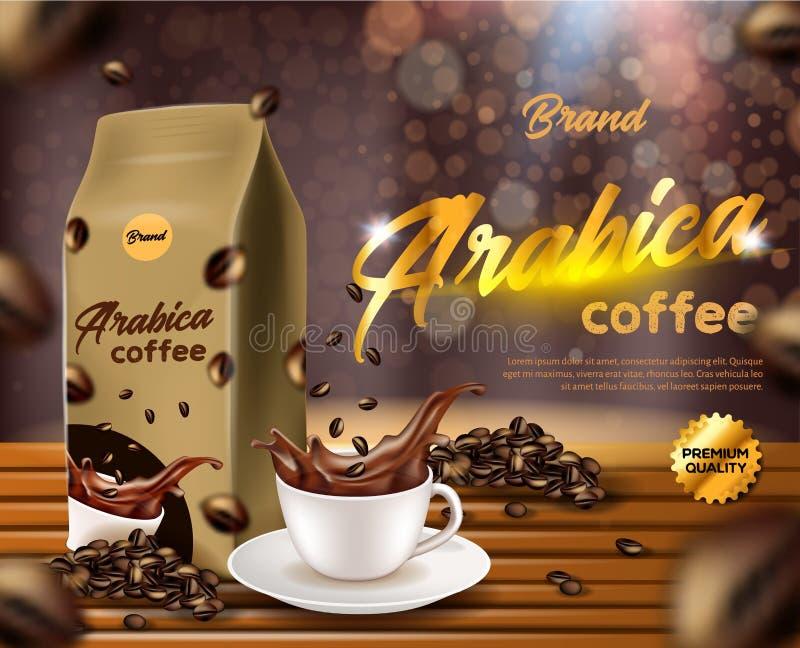 Pancarta de café de Arabica, bolsita de bolsita para bolsitas de papel stock de ilustración
