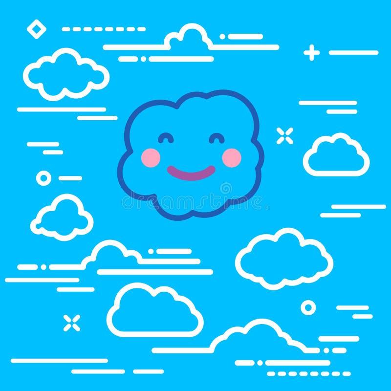 Pancarta de ducha lineal abstracta con rayos solares y sonrisa alegre nube de papel blanco sobre fondo azul stock de ilustración