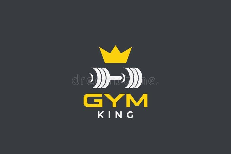 Pancarta de Dumbbell con diseño de logotipo de corona GYM Fitness Sport club plantilla de diseño vectorial ilustración del vector