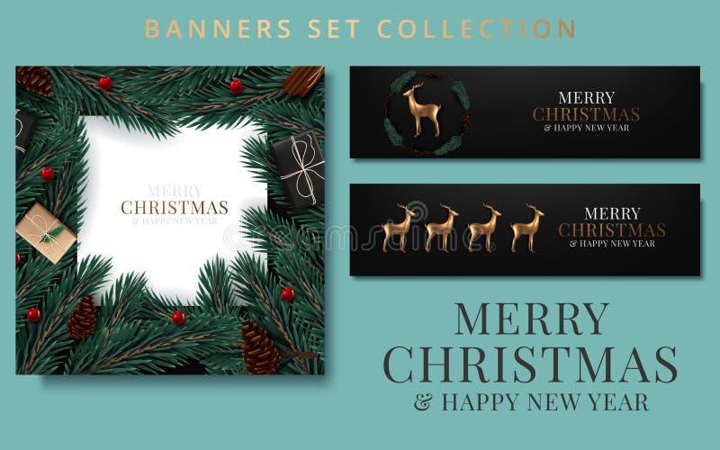 Pancartas navideñas con ramas de abeto decoradas con cintas, bolas rojas y doradas y guirnaldas Ilustración del vector libre illustration
