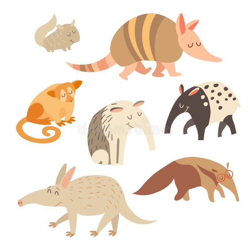 Pancernik, anteater, szynszyla, tapir, anteater, kinkajou zwierzęta na białym tle również zwrócić corel ilustracji wektora ilustracji