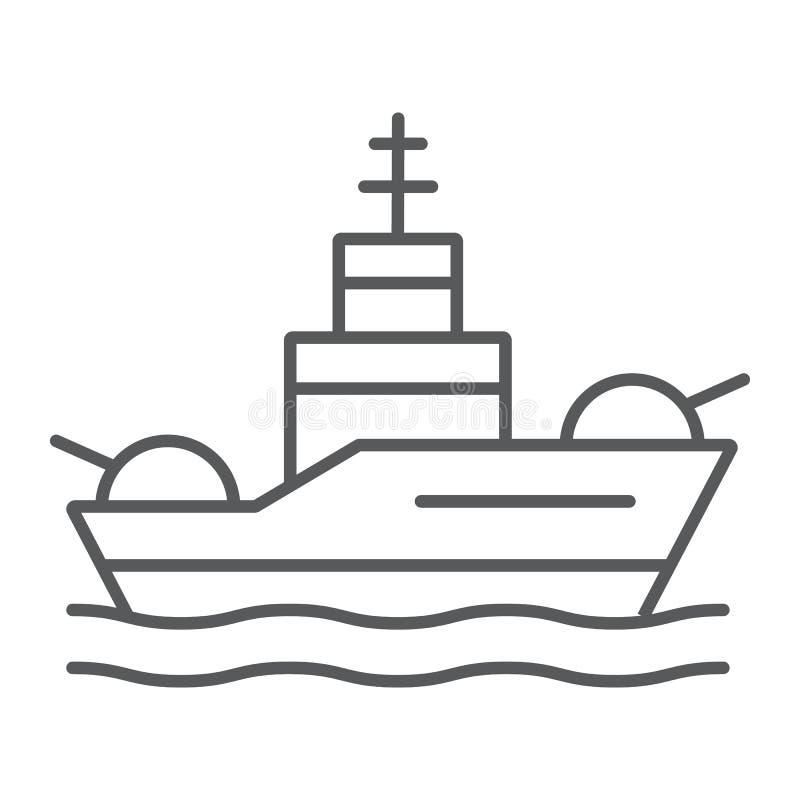 Pancernik cienka kreskowa ikona, marynarka wojenna i wojsko, okrętu wojennego znak, wektorowe grafika, liniowy wzór na białym tle ilustracja wektor