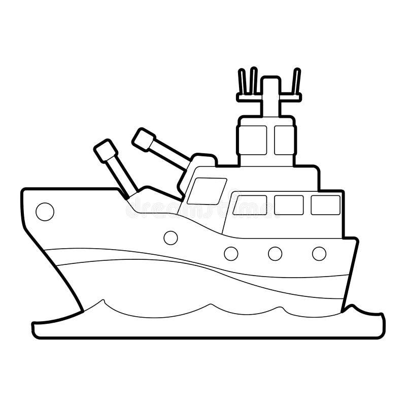 Pancernik ikona, konturu styl ilustracja wektor