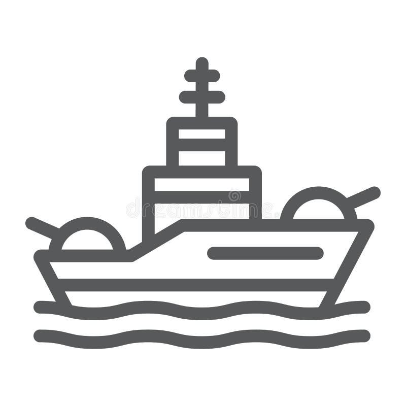 Pancernik kreskowa ikona, marynarka wojenna i wojsko, okrętu wojennego znak, wektorowe grafika, liniowy wzór na białym tle ilustracja wektor