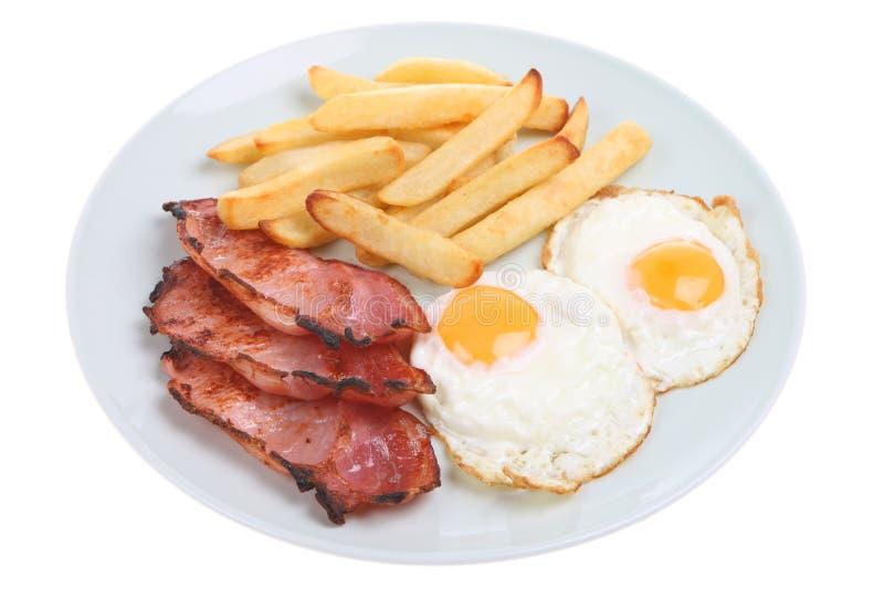 Pancetta affumicata, uovo & patatine fritte fotografia stock