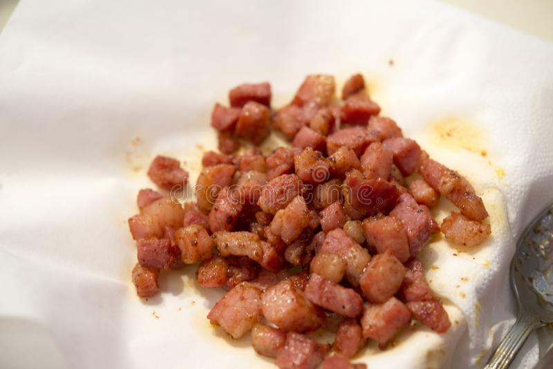 Fried Pancetta stock images