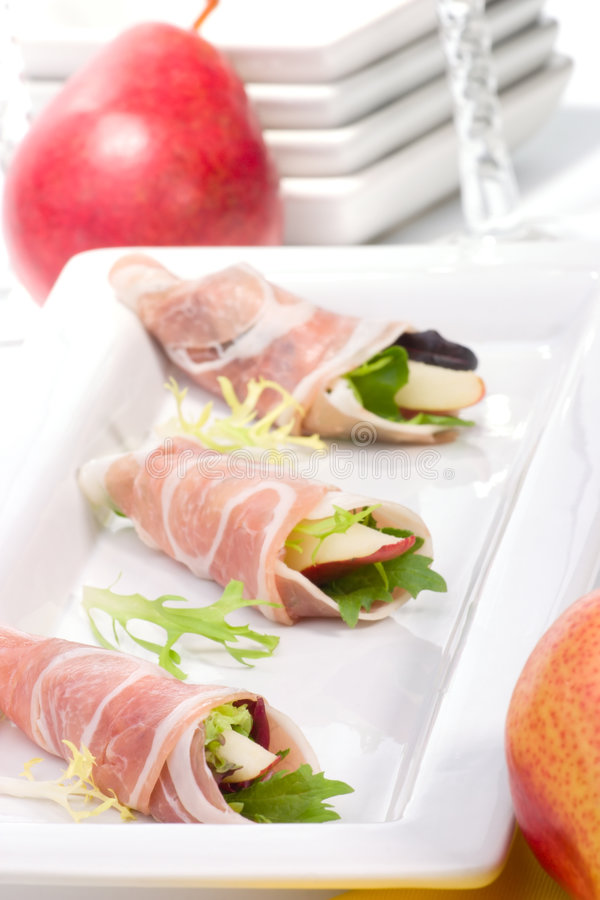 Pancetta canapes royalty free stock photography