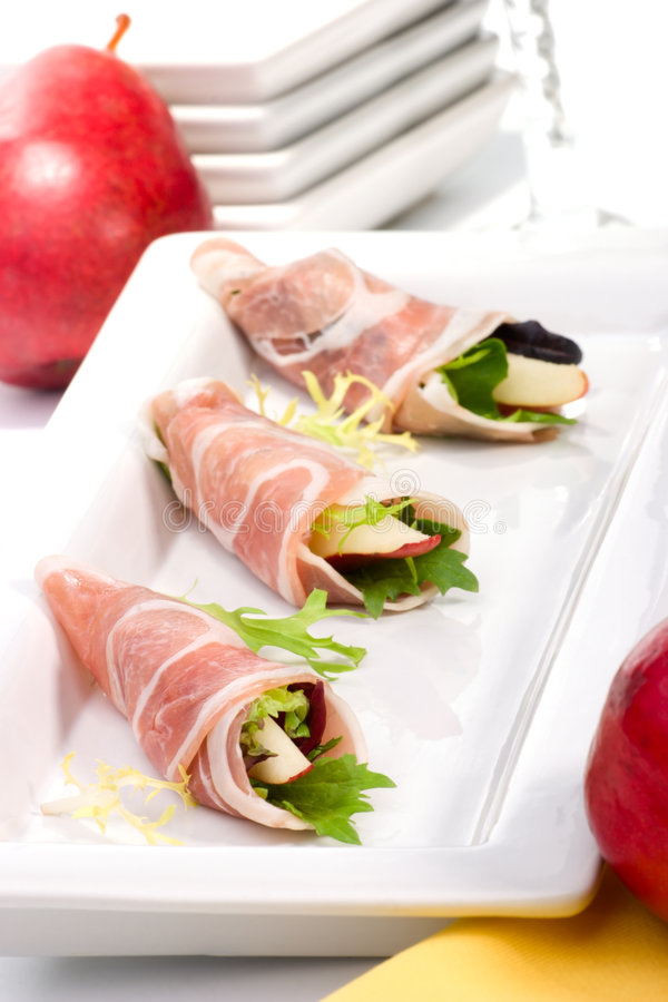 Pancetta canapes stock photography