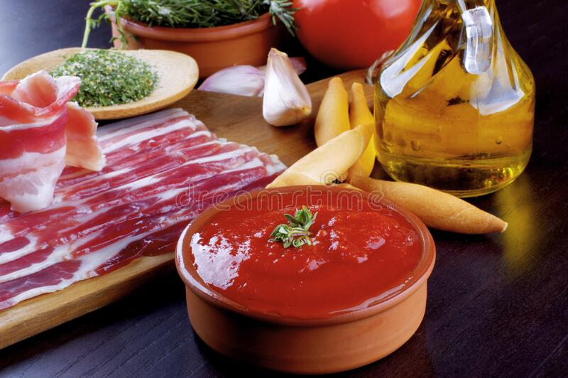 Pancetta and Ingredients royalty free stock image