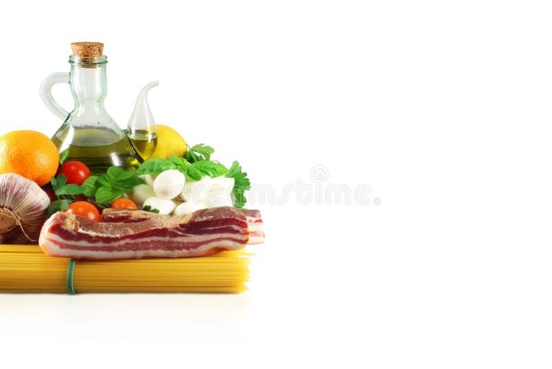 Pancetta, Olive oil, mozzarella and tomatoes stock photo