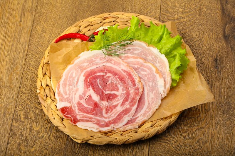 Pancetta royalty free stock photography
