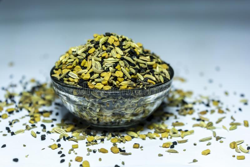 Panch Phoron - un mélange de cinq SpicesMasala indien image stock