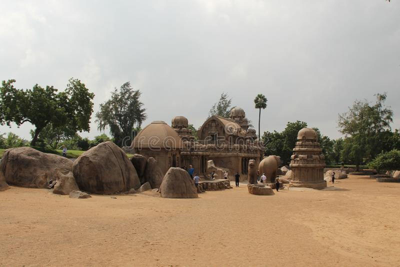 Pancha Rathas royaltyfri fotografi