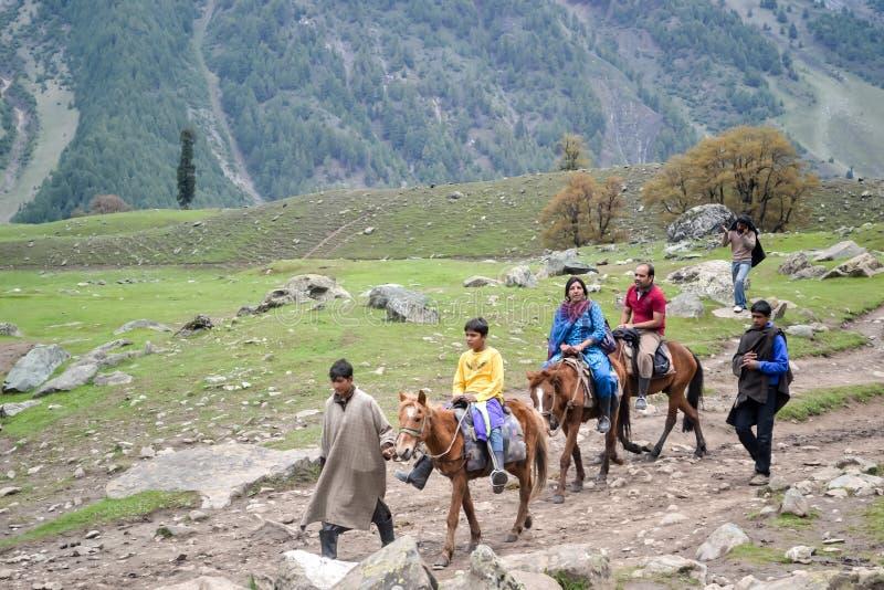 Panchchuli Himalayagebergte die, Munsiyari Uttarakhand India Oktober 2018 - horseback nemen die in de Himalayan-weiden met majest royalty-vrije stock afbeelding