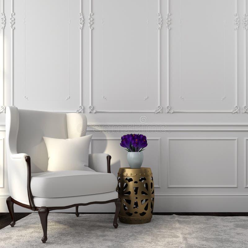 Panchetto bianco classico dell'oro e della sedia illustrazione di stock