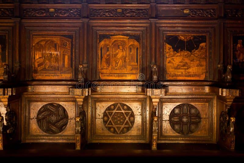 Panchina del coro Domenico di Niccolò Chapel, Palazzo Pubblico, Siena, Toscana, Italia, fotografia stock libera da diritti