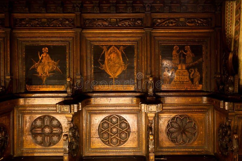 Panchina del coro Domenico di Niccola, Palazzo Pubblico, Siena, Toscana, Italia, fotografia stock libera da diritti