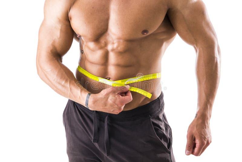 Pancia di misurazione dell'uomo muscolare del culturista con la misura di nastro immagine stock