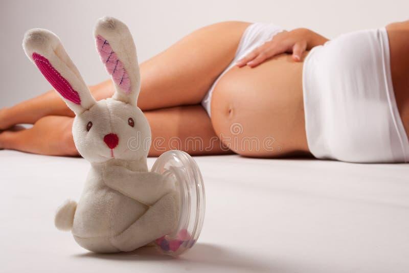 Pancia incinta con il coniglietto fotografia stock libera da diritti