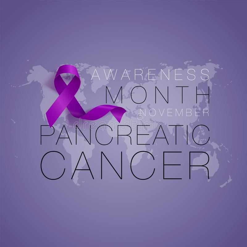 Pancreatic Cancer Awareness Calligraphy Poster Design. Realistic Purple Ribbon. November is Cancer Awareness Month royalty free illustration