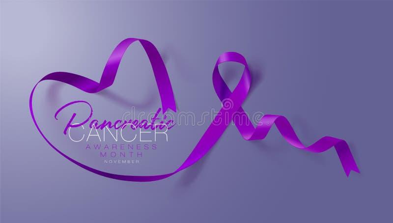 Pancreatic Cancer Awareness Calligraphy Poster Design. stock illustration