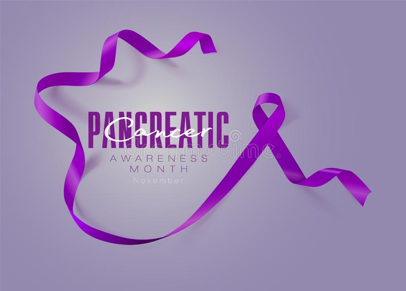 Pancreatic Cancer Awareness Calligraphy Poster Design. Realistic Purple Ribbon. November is Cancer Awareness Month vector illustration
