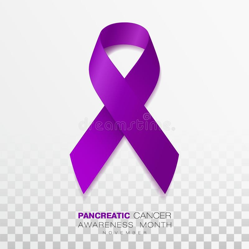 Pancreatic Cancer Awareness Month. Purple Color Ribbon Isolated On Transparent Background. Vector Design Template For vector illustration