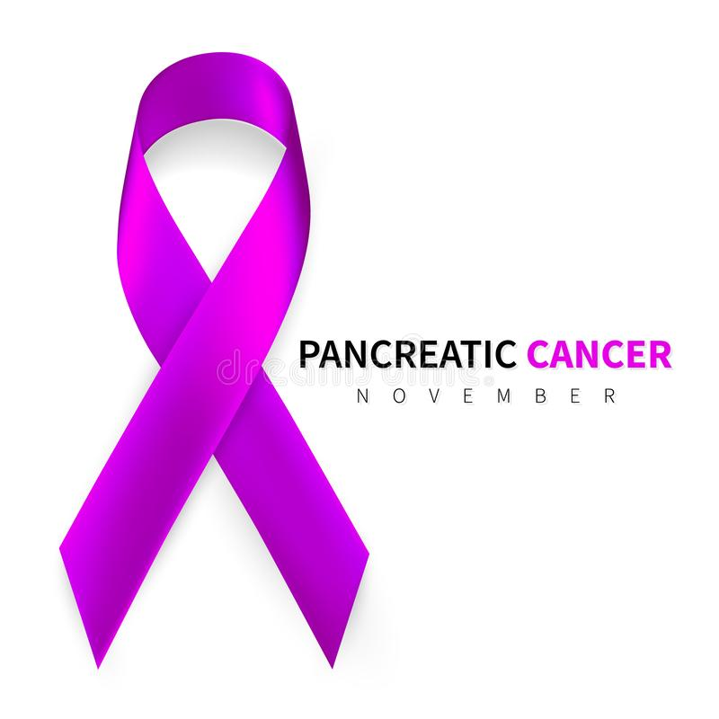 Pancreatic Cancer Awareness Month. Realistic Purple ribbon symbol. Medical Design. Vector illustration.  stock illustration