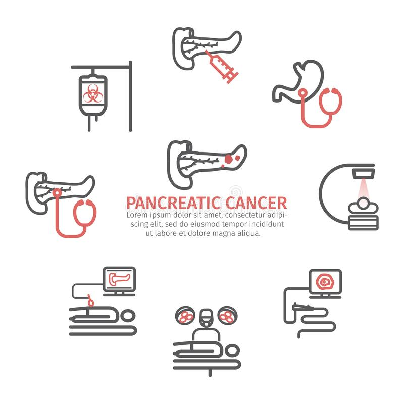 Pancreatic Pancreas Cancer banner. Causes. Diagnostics. Line icons set. Vector signs for web graphics. Pancreatic Pancreas Cancer Symptoms. Causes. Diagnostics stock illustration