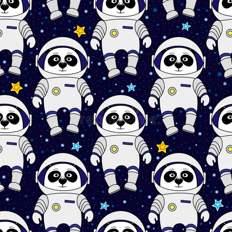 Pand gwiazdy w przestrzeni i astronauta, bezszwowy wzór obraz stock