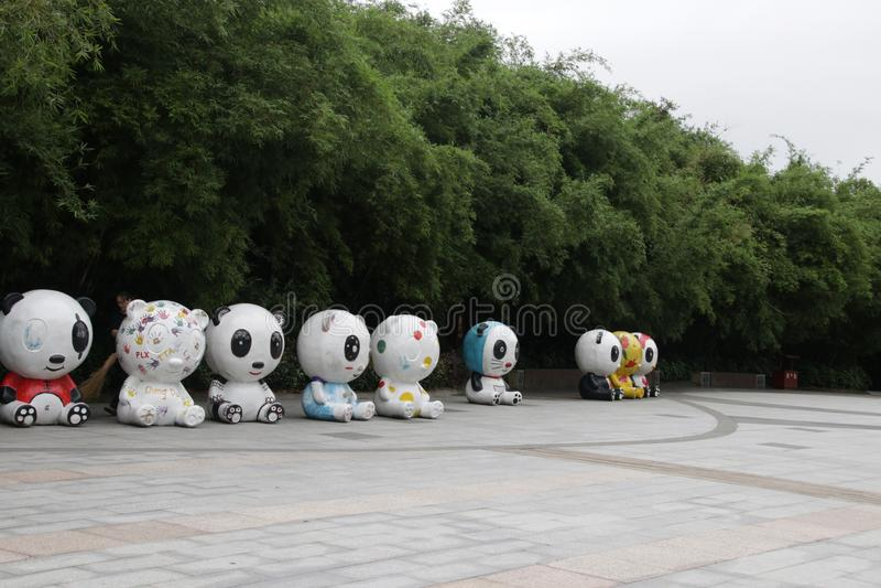 Pand rzeźby w Chengdu pandy bazie, Chengdu, Chiny obrazy royalty free