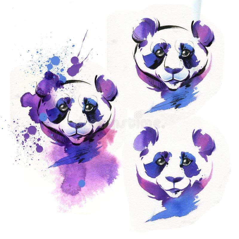 A panda é tirada com uma escova e uma aquarela ilustração stock