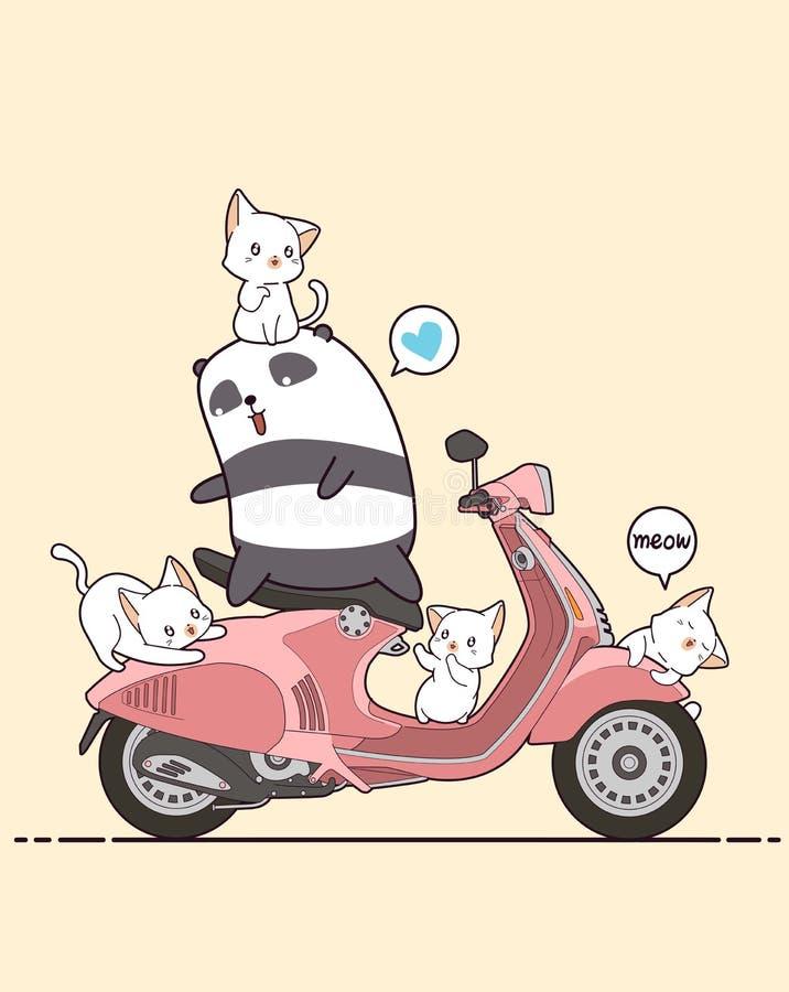 Panda αναβατών και χαριτωμένες γάτες με τη ρόδινη μοτοσικλέτα ελεύθερη απεικόνιση δικαιώματος