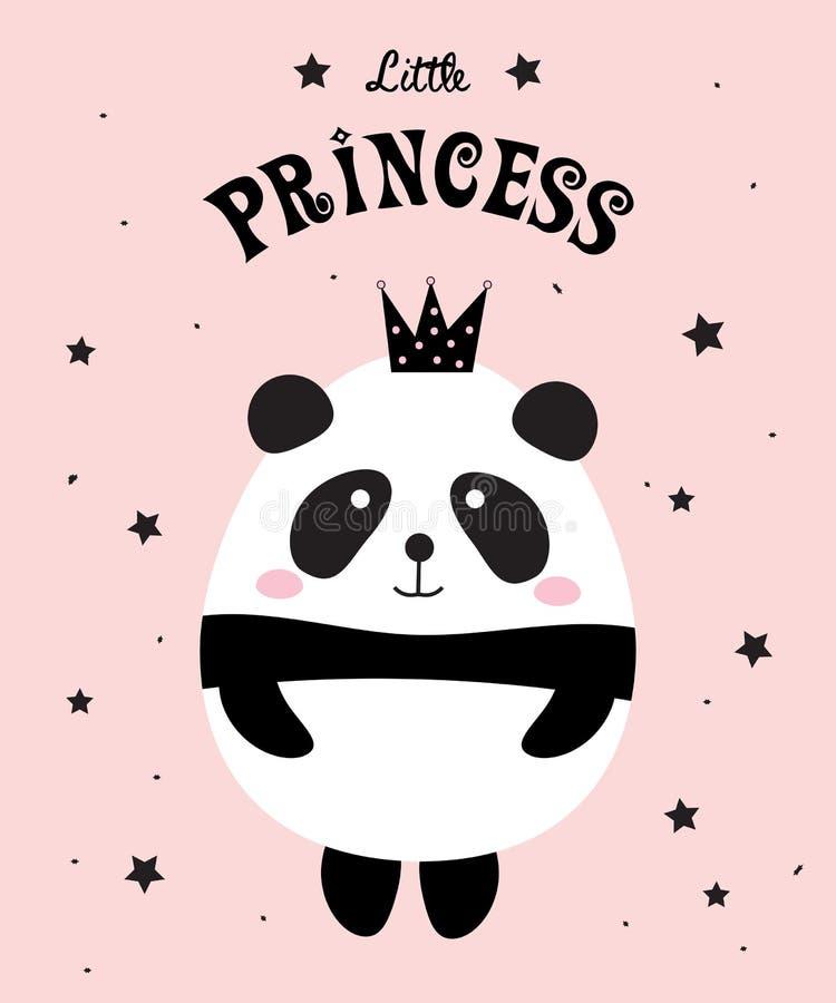 Panda λίγη πριγκήπισσα διανυσματική απεικόνιση