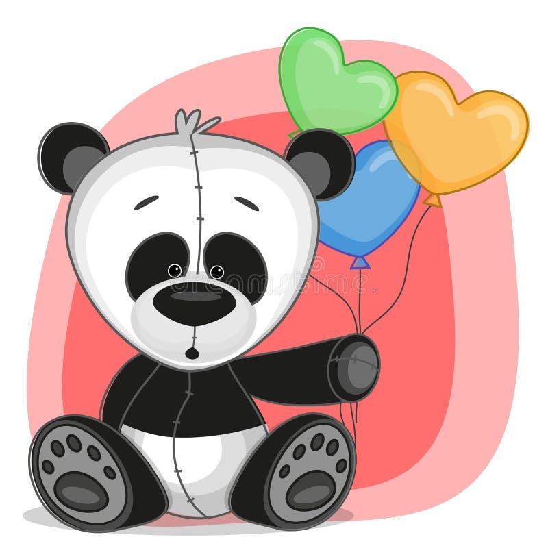 Panda με τα baloons ελεύθερη απεικόνιση δικαιώματος