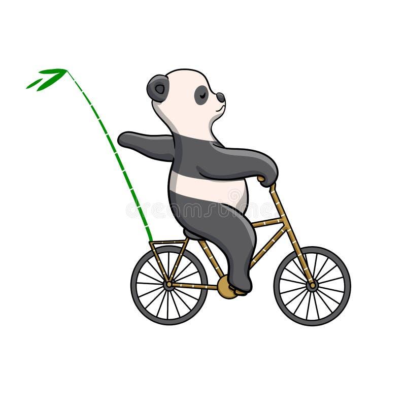 Panda που οδηγά ένα ποδήλατο ανακυκλώσιμο ελεύθερη απεικόνιση δικαιώματος