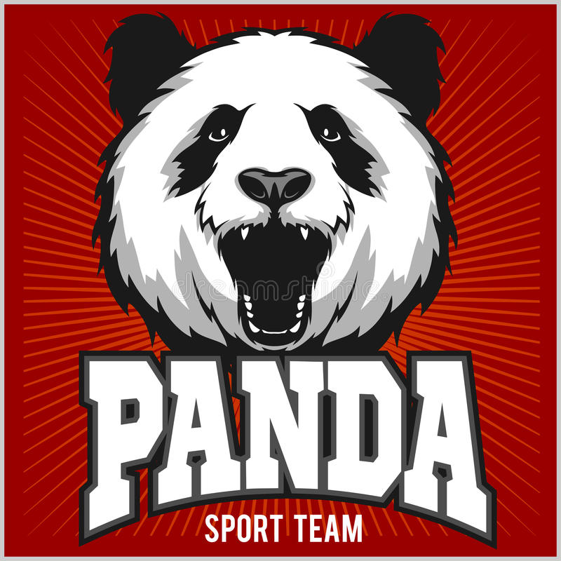 Panda Πρότυπο για το λογότυπο αθλητικών ομάδων Pandas ελεύθερη απεικόνιση δικαιώματος