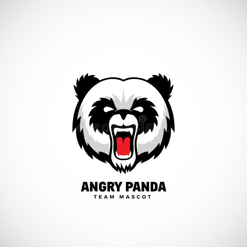 Panda Abstract Vector Team Mascot enojado, etiqueta o Logo Template Icono de la cara del oso sin fondo libre illustration