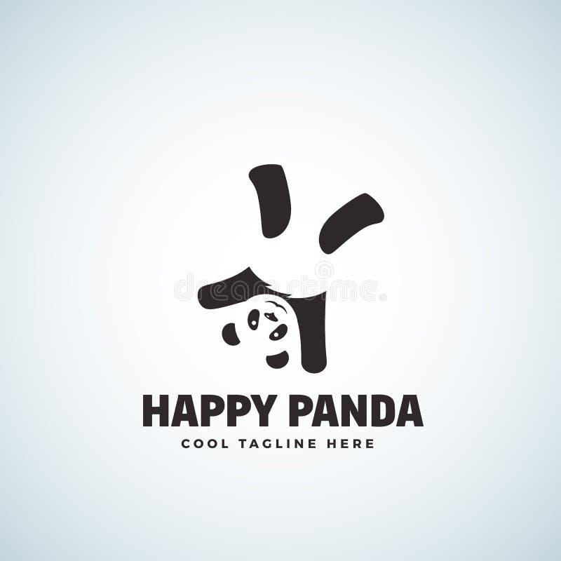 Panda Abstract Vetora Emblem ou Logo Template feliz Urso engraçado de cabeça para baixo ilustração royalty free
