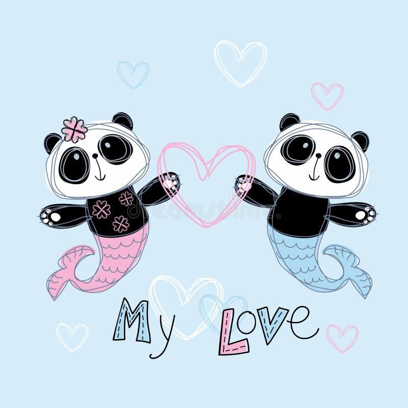 Panda aimant de sir?ne Gar?on et fille Mon amour lettrage Vecteur illustration stock
