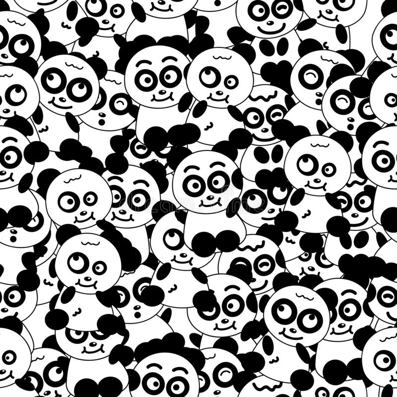 Panda animal cartoon character collection, black and white seamless pattern background vector illustration royalty free illustration