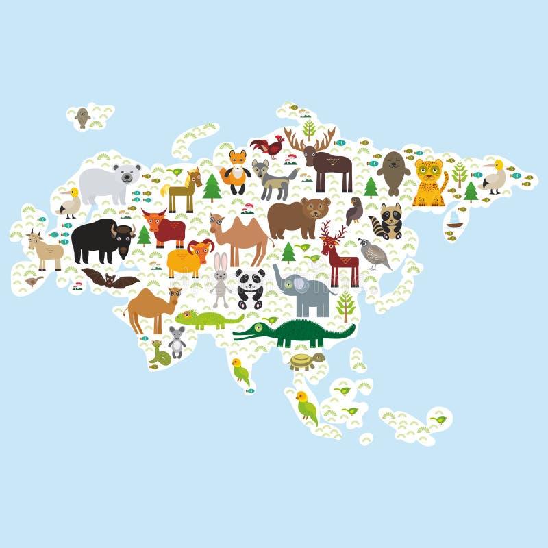 Panda animal Lion de moutons de serpent de raton laveur de taureau d'Eagle d'ours blanc de chèvres de morse de joint de fourrure  illustration libre de droits