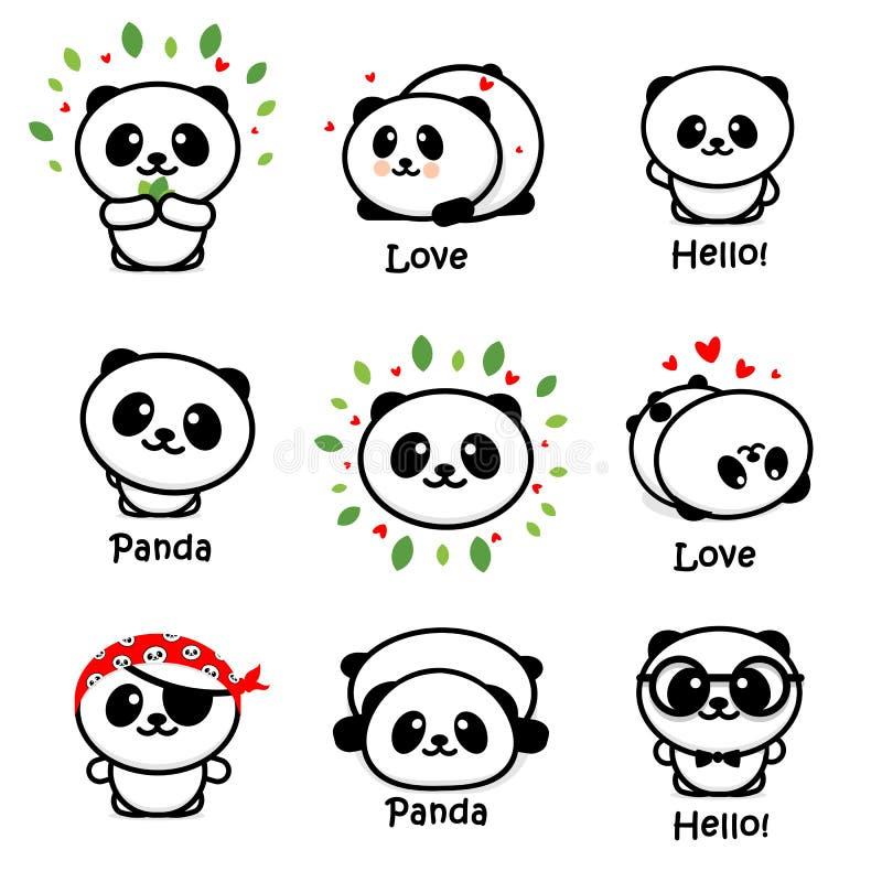 Panda Asian Bear Vetora Illustrations bonito, coleção de animais chineses Logo Elements simples, ícones preto e branco ilustração do vetor