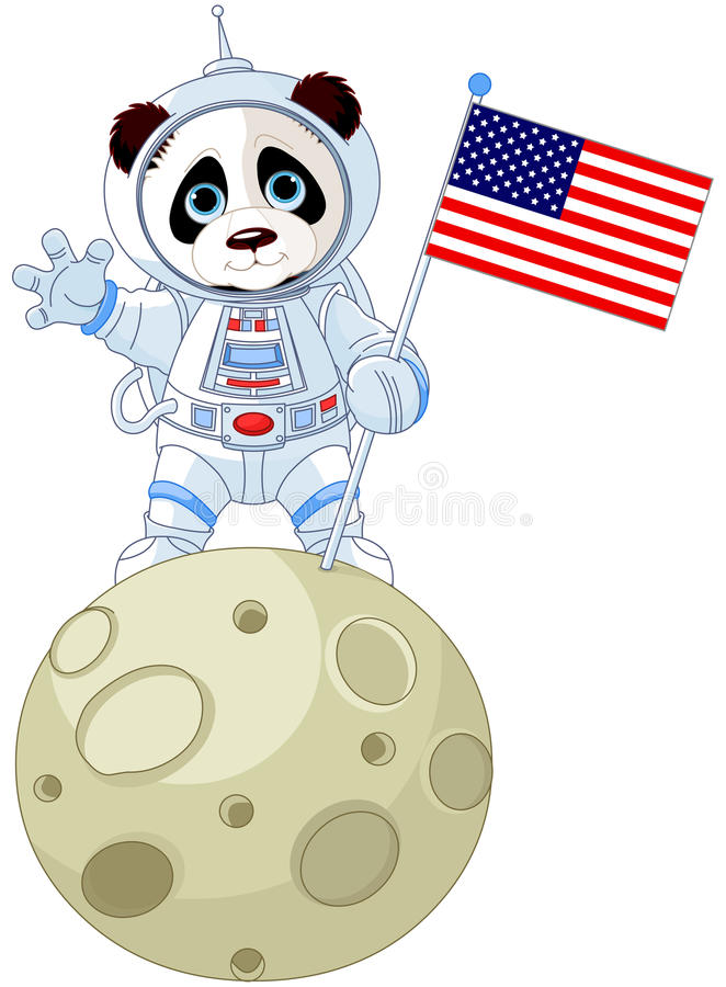 Panda Astronaut vektor illustrationer